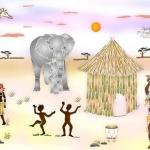 Paysage d'Afrique: un très beau dessin représentatif du continent Africain